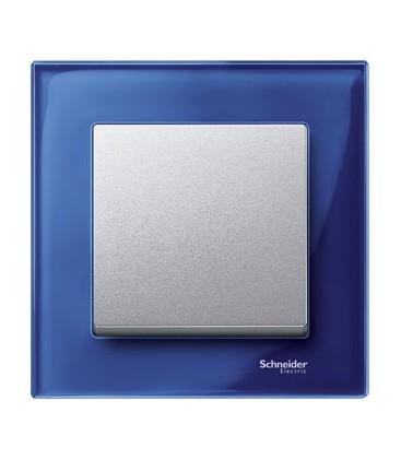 Выключатель Merten серия M-Elegance стекло, сапфир/алюминий