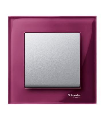 Выключатель Merten серия M-Elegance стекло, рубин/алюминий