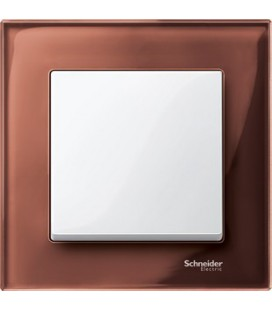 Выключатель Merten серия M-Elegance стекло, махагон/белый