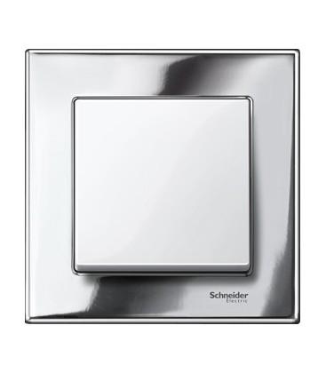 Выключатель Merten серия M-Elegance металл, хром/белый