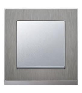 Выключатель Merten серия M-Pure Decor, нерж.сталь/цвет алюминий