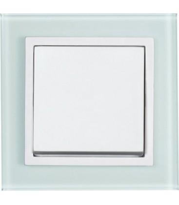 Выключатель PEHA серия Aura Glas, белое матовое стекло