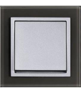 Выключатель PEHA серия Aura Glas, черное стекло/алюминий