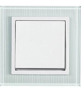 Выключатель PEHA серия Aura Glas, рифленое белое матовое стекло
