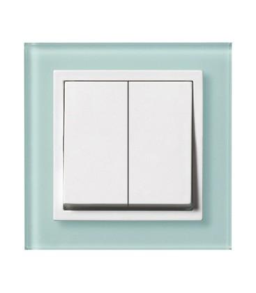 Двухклавишный выключатель PEHA серия Aura Glas, зеленое матовое стекло/белый