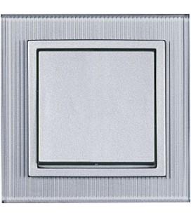 Выключатель PEHA серия Aura Glas, рифленое стекло цвета алюминия
