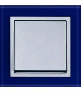 Выключатель PEHA серия Aura Glas, синее стекло/алюминий