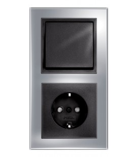Розетка и выключатель PEHA серия Aura Glas, зеркальное стекло/черный