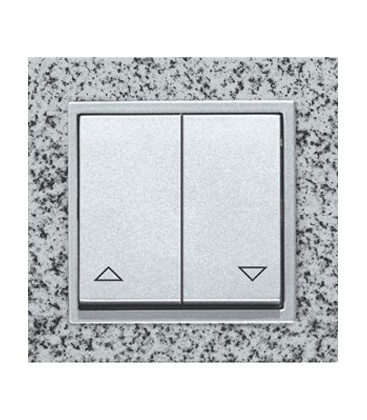 Двухклавишный выключатель PEHA серия Aura Stein, серый гранит/алюминий