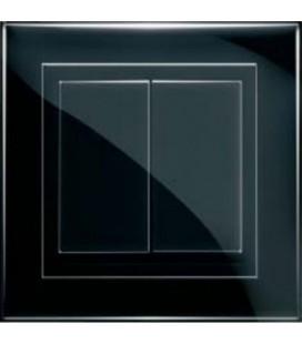 Двухклавишный выключатель PEHA серия Nova Brillance, черный