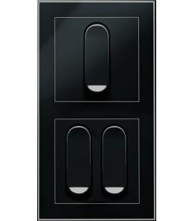 Двухклавишный выключатель PEHA серия Nova Tangenta, черный
