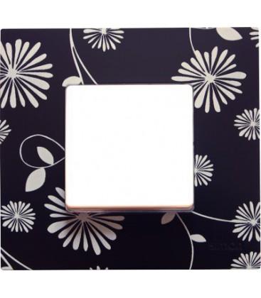 Выключатель Simon серия 27 Play, черная с белым рисунком