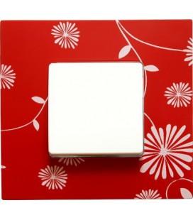 Выключатель Simon серия 27 Play, красная с белым рисунком