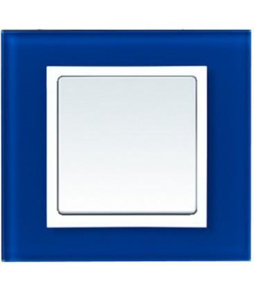Выключатель Simon серия 82 Nature, стекло синий/белый