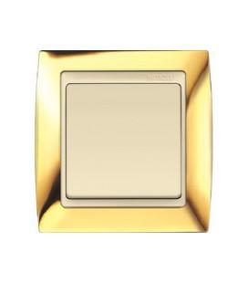 Выключатель Simon серия 82, золото/слоновая кость