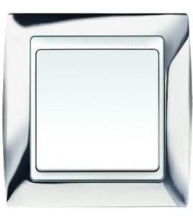 Выключатель Simon серия 82, хром/белый