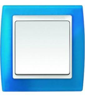 Выключатель Simon серия 82, синий полупрозрачный/белый